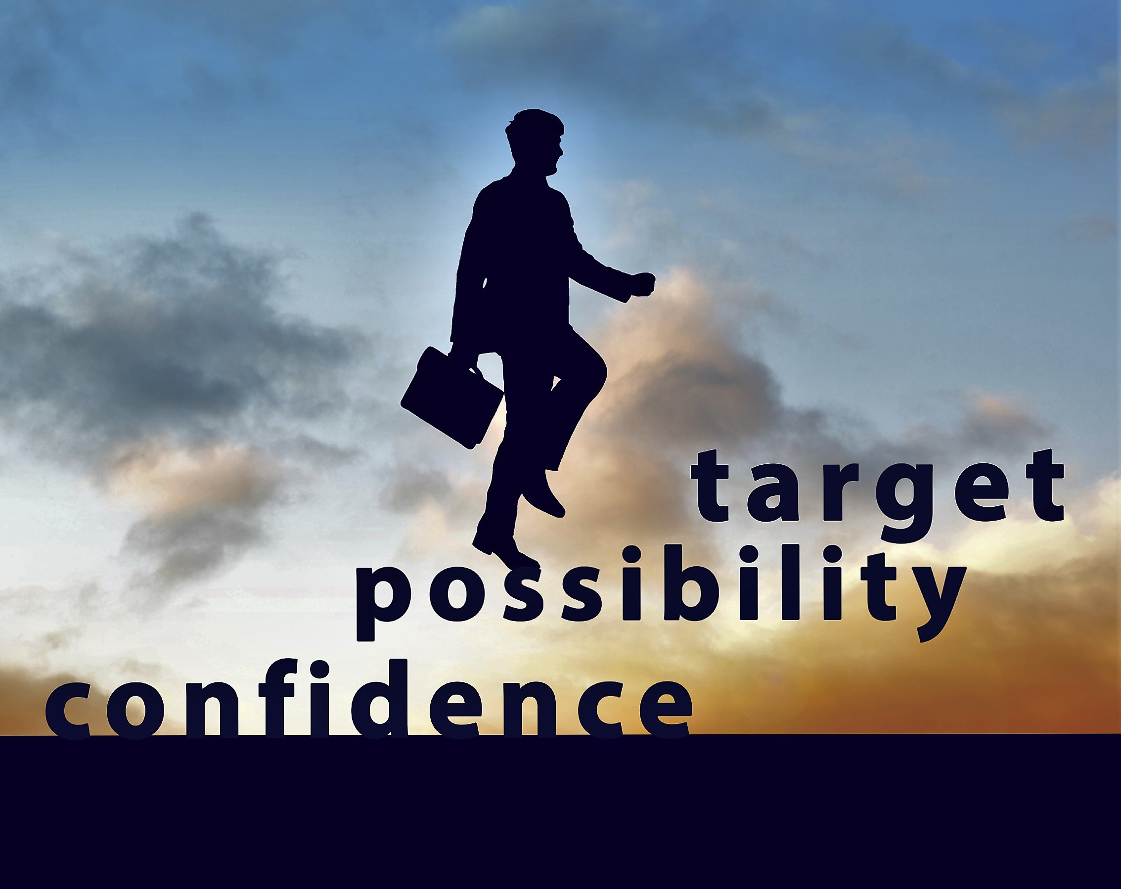 Image of confident businessman with briefcase walking up to target